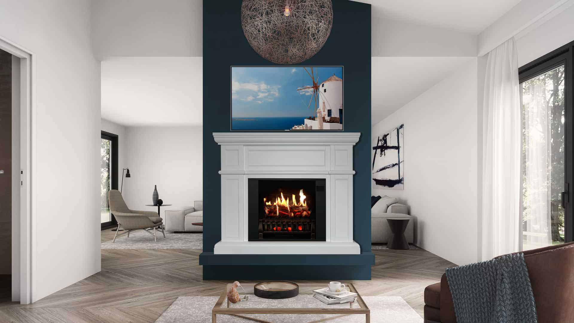 Mantel with TV