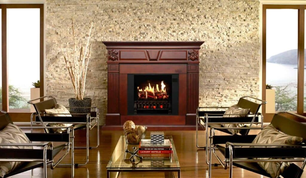 electric fireplace size