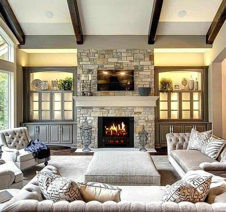 Corner fireplace tv