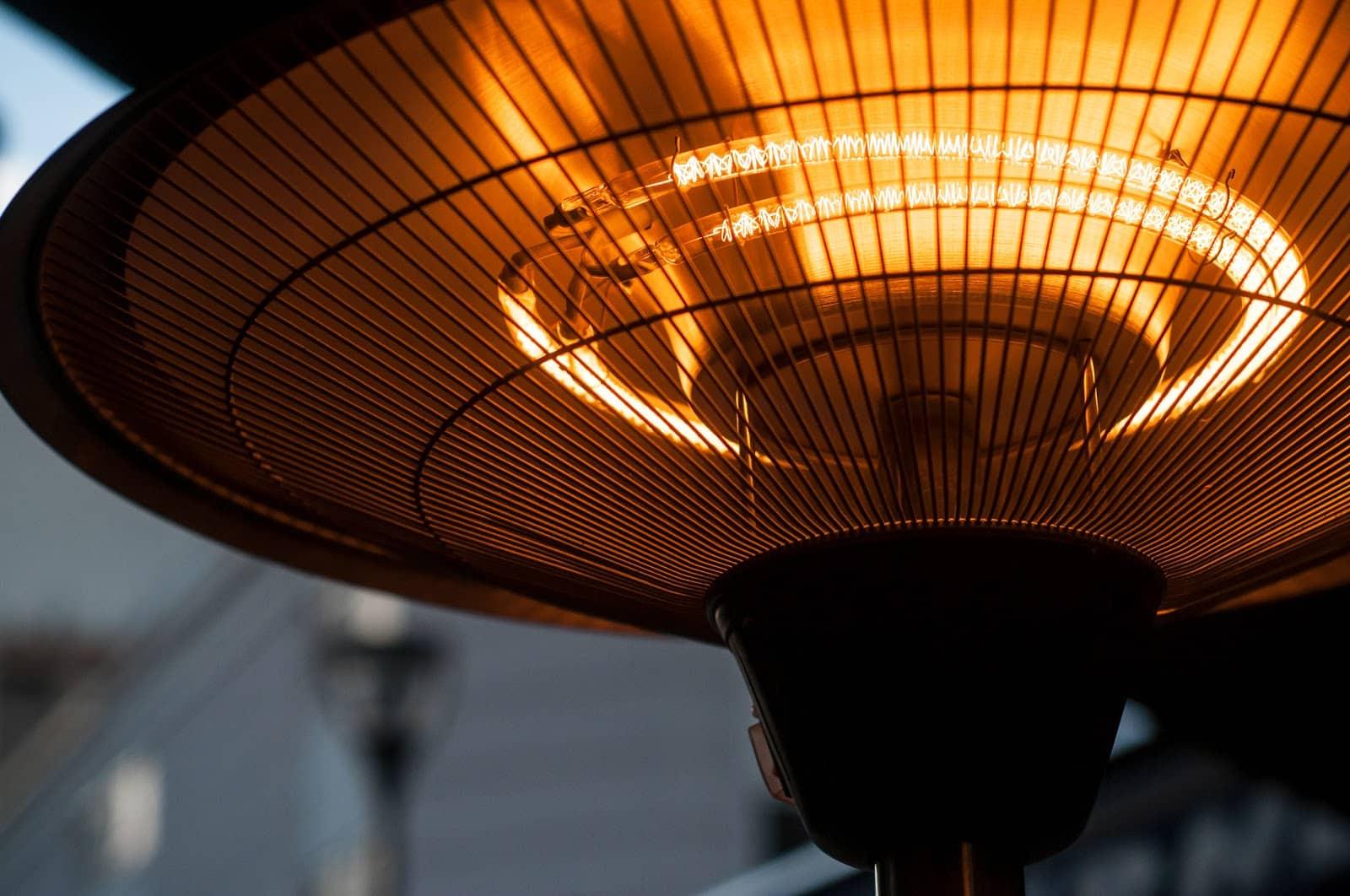 closeup of outdoor heating in restaurant terrrace