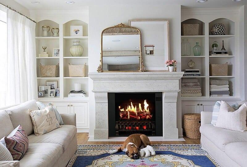small freestanding fireplace