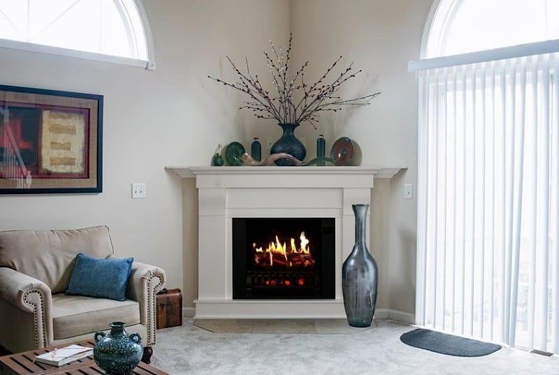 Corner fireplace console